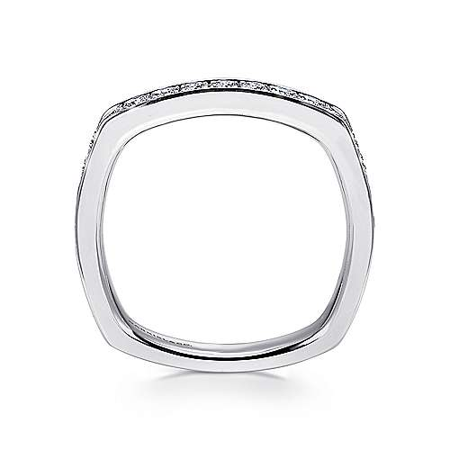 14k White Gold Micro Pavé Channel Set Euro Shank Band