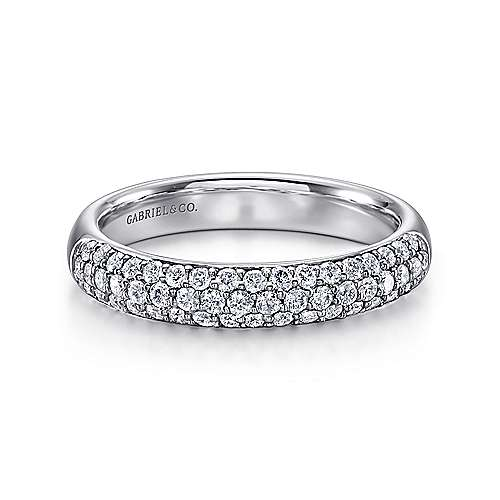 14k White Gold Micro Pavé Diamond Band