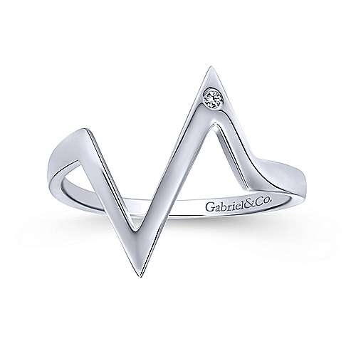 14k White Gold Midi Ladies' Ring angle 4