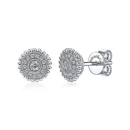 14k White Gold Milgrain Beaded Round Diamond Halo Stud Earrings
