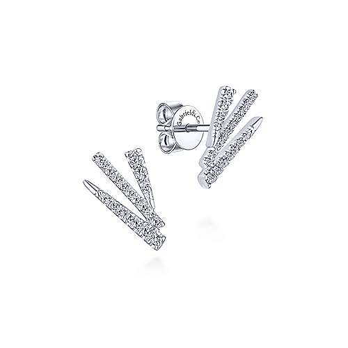 Gabriel - 14k White Gold Modern Fan Motif Diamond Stud Earrings