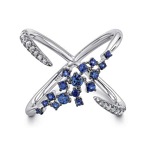 Gabriel - 14k White Gold Modern Scattered Sapphire & Diamond Ladies Ring