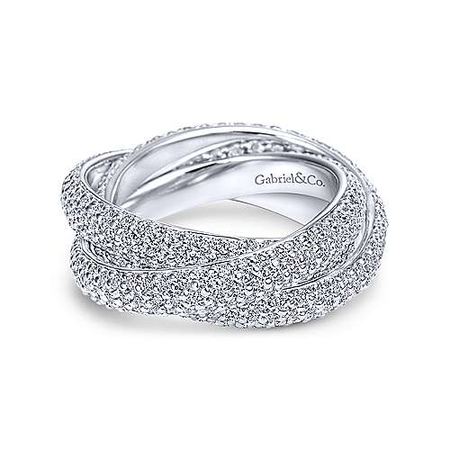 Gabriel - 14k White Gold Multi Row Prong Set Eternity Band
