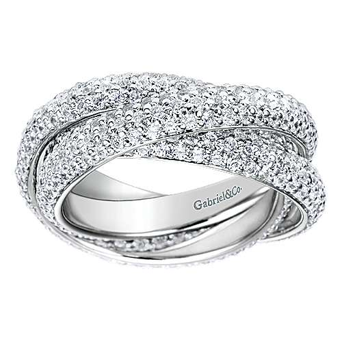 14k White Gold Multi Row Prong Set Eternity Band