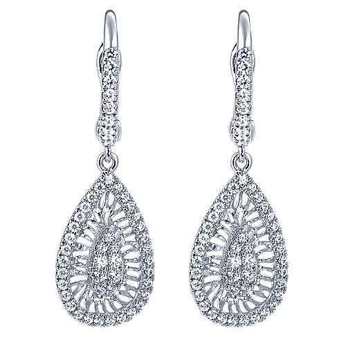 14k White Gold Nature Drop Earrings angle 1