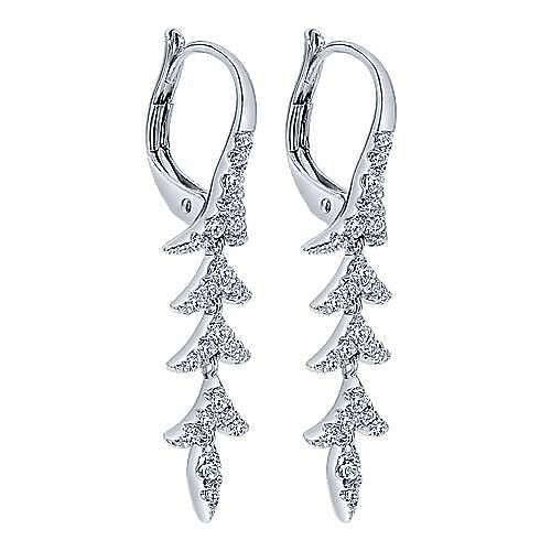 14k White Gold Nature Drop Earrings angle 2