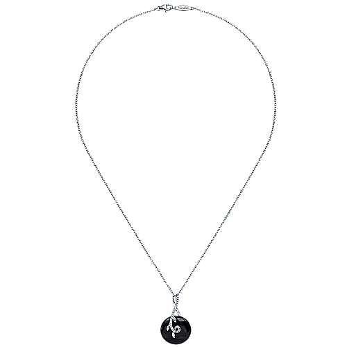 14k White Gold Nature Fashion Necklace angle 2