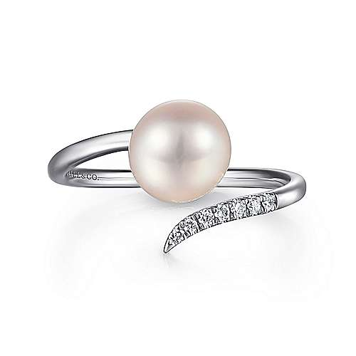 14k White Gold Open Cultured Pearl & Diamond Ladies Wrap Ring
