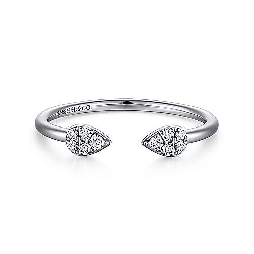 14k White Gold Open Pear Diamond Stackable Ladies' Ring