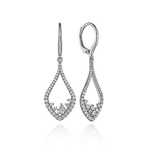 Gabriel - 14k White Gold Open Teardrop Pave Diamond Drop Earrings