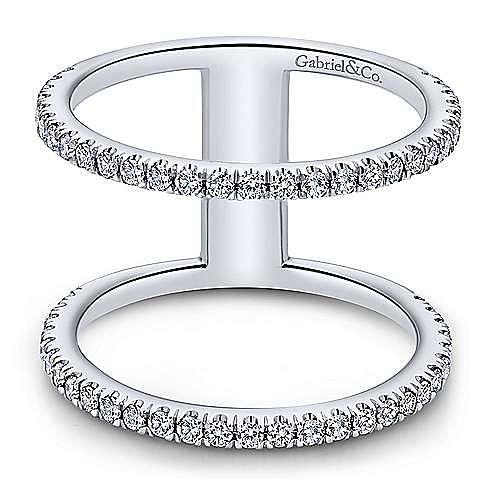 14k White Gold Open Wide Band Diamond Ring