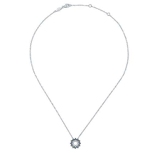 14k White Gold Openwork Diamond and Sapphire Fashion Necklace