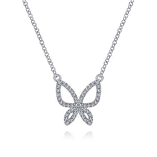 14k White Gold Openwork Pave Diamond Butterfly Necklace