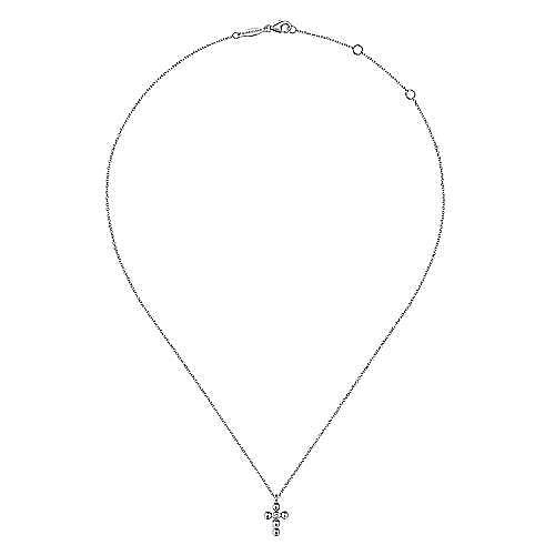 14k White Gold Orb Diamond Cross Necklace