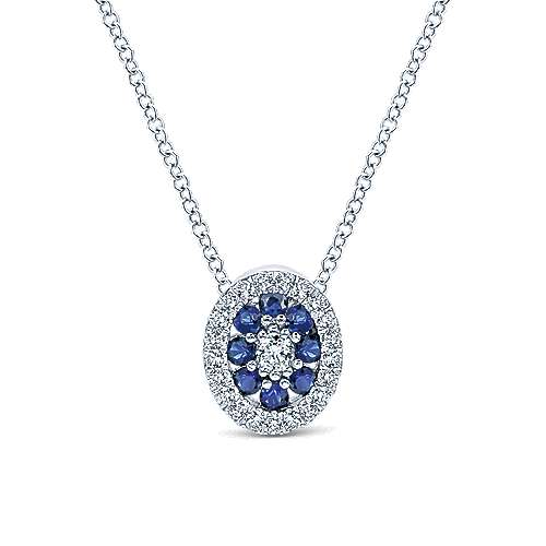 14k White Gold Oval Alternating Sapphire & Diamond Pendant Necklace
