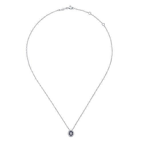 14k White Gold Oval Alternating Sapphire & Diamond Pendant Necklace