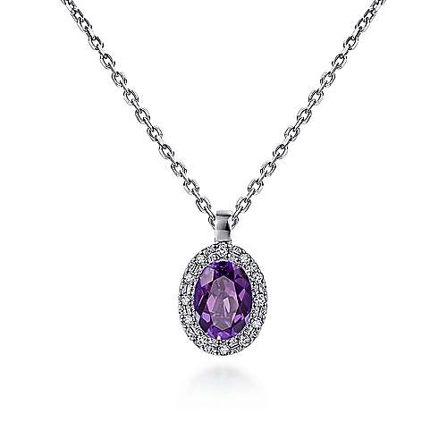 14k White Gold Oval Amethyst Diamond Halo Fashion Necklace