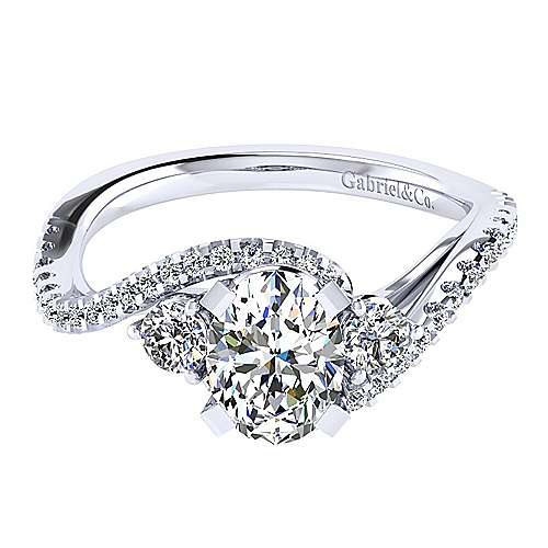 14k White Gold Oval Bypass Engagement Ring angle 1