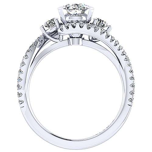 14k White Gold Oval Bypass Engagement Ring angle 2