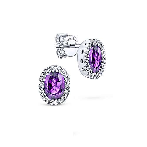 14k White Gold Oval Cut Amethyst Diamond Halo Stud Earrings