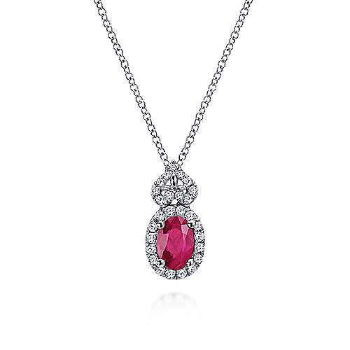 14k White Gold Oval Cut Ruby Diamond Halo Fashion Necklace