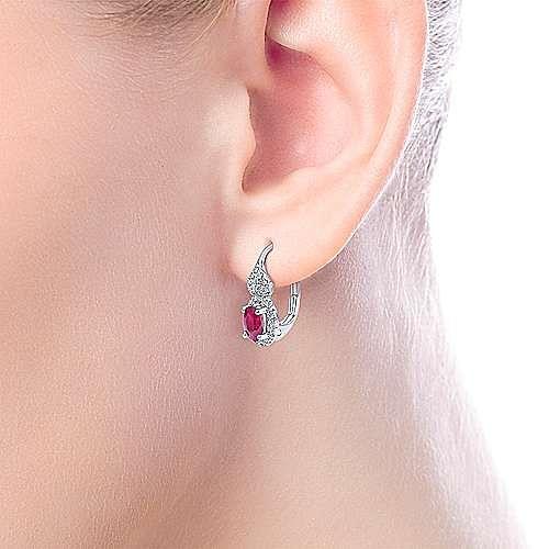 14k White Gold Oval Cut Ruby and Diamond Drop Earrings