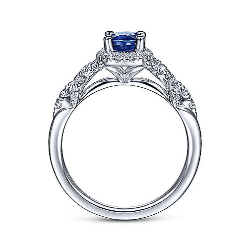 14k White Gold Oval Cut Sapphire Diamond Halo Fashion Ring
