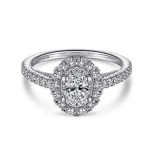14k White Gold Oval Double Halo Complete Diamond Engagement Ring