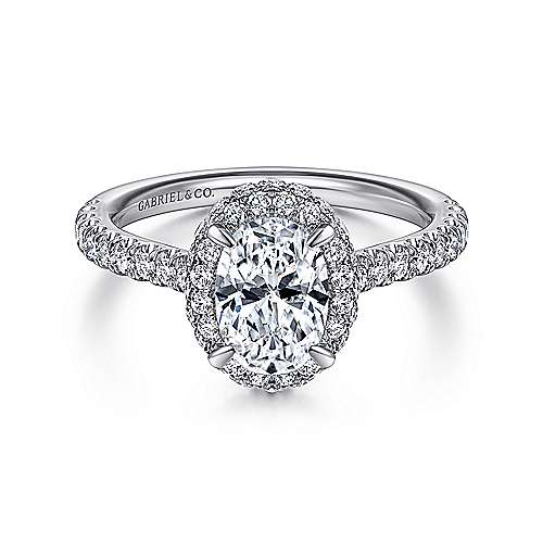 Gabriel - 14k White Gold Oval Halo Diamond Engagement Ring