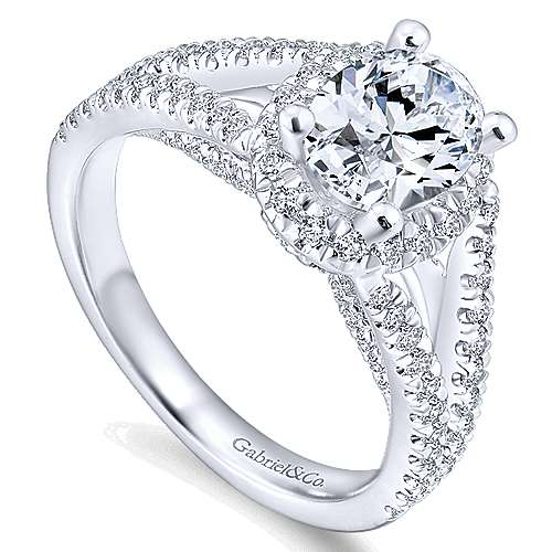 14k White Gold Oval Halo Engagement Ring angle 3