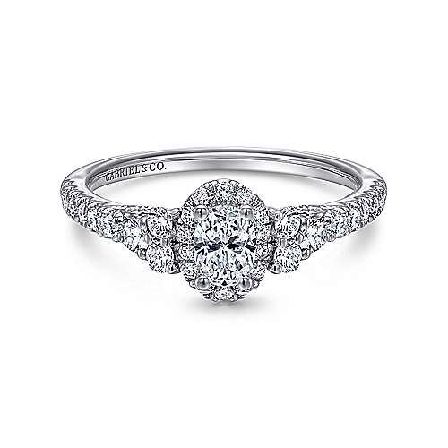 14k White Gold Oval Halo Engagement Ring angle 1