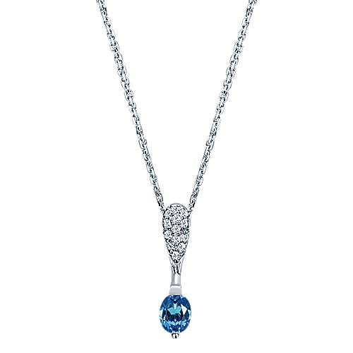 14k White Gold Oval Sapphire Pear Shaped Diamond Cluster Necklace