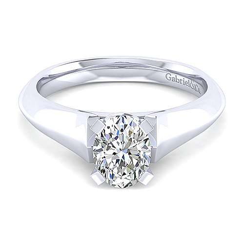 Gabriel - 14k White Gold Oval Solitaire Engagement Ring