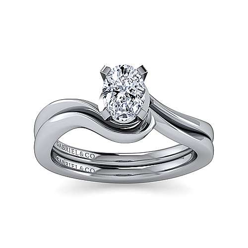 14k White Gold Oval Solitaire Engagement Ring angle 4