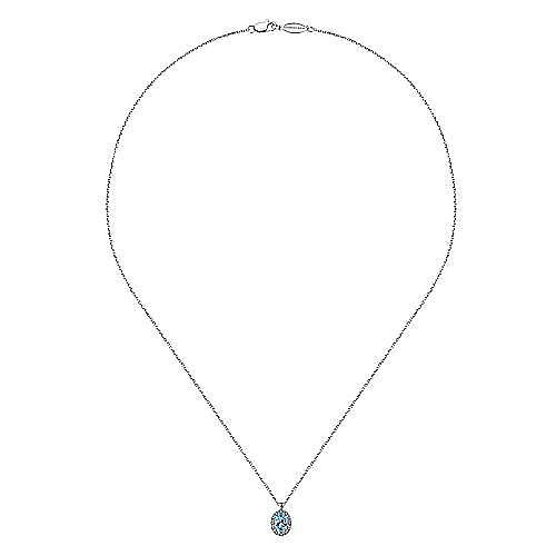 14k White Gold Oval Swiss Blue Topaz Diamond Halo Fashion Necklace