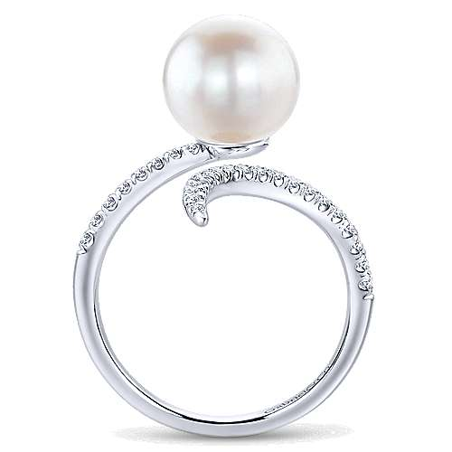 14k White Gold Pave Diamond & Cultured Pearl Ladies Ring