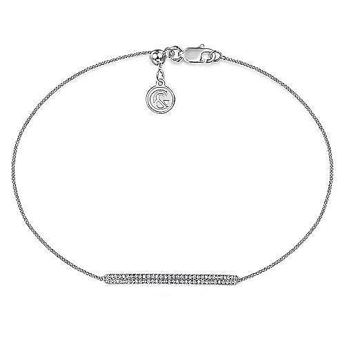14k White Gold Pave Diamond Bar Tennis Bracelet