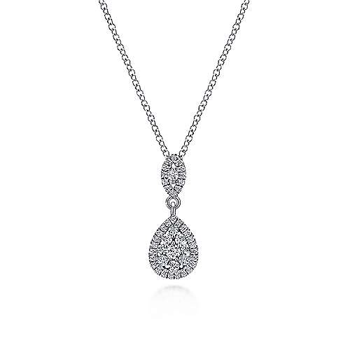 14k White Gold Pave Diamond Cluster Fashion Necklace