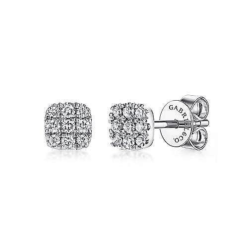 Gabriel - 14k White Gold Pave Diamond Cushion Cut Stud Earrings
