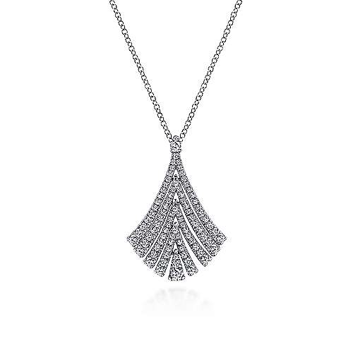 14k White Gold Pave Diamond Fan Necklace