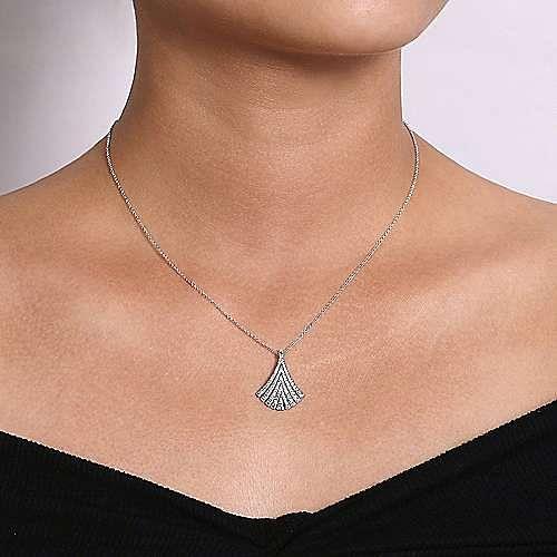 14k White Gold Pave Diamond Fan Necklace