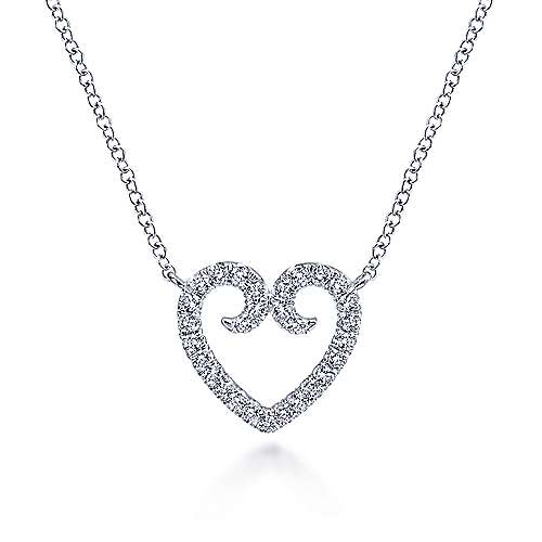 Gabriel - 14k White Gold Pave Diamond Flourish Open Heart Necklace