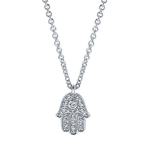 14k White Gold Pave Diamond Hamsa Necklace