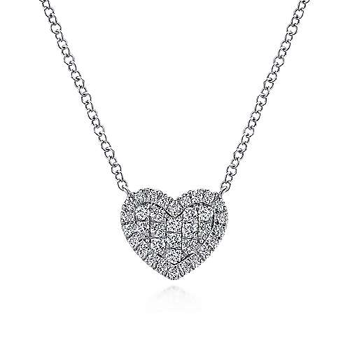 14k White Gold Pave Diamond Heart Pendant Necklace