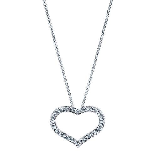 Gabriel - 14k White Gold Pave Diamond Open Heart Necklace