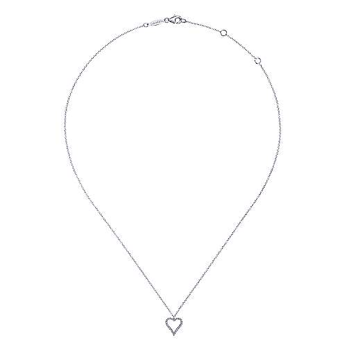 14k White Gold Pave Diamond Open Heart Necklace