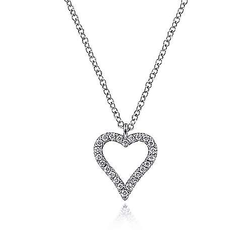 Gabriel - 14k White Gold Pave Diamond Open Heart Silhouette Necklace