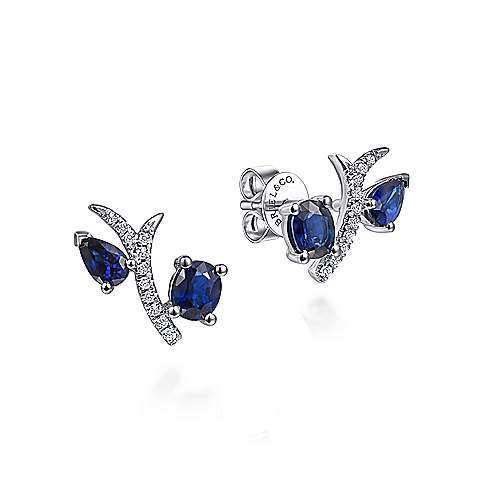 14k White Gold Pave Diamond Oval & Pear Cut Sapphire Stud Earrings