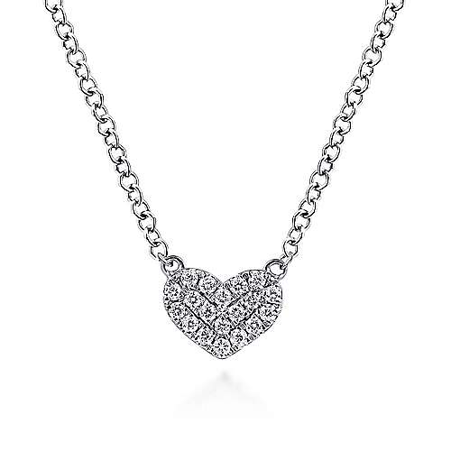 14k White Gold Pave Diamond Pendant Heart Necklace