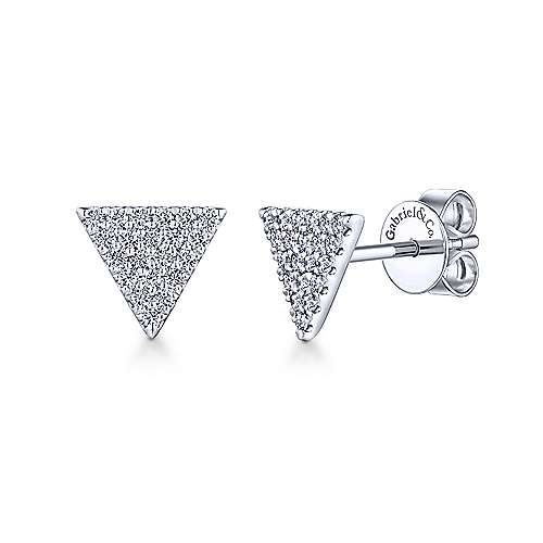 Gabriel - 14k White Gold Pave Diamond Triangle Stud Earrings